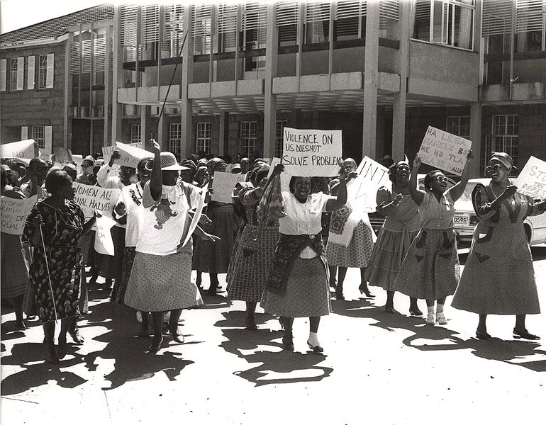 Women protesting in the streets of Pretoria