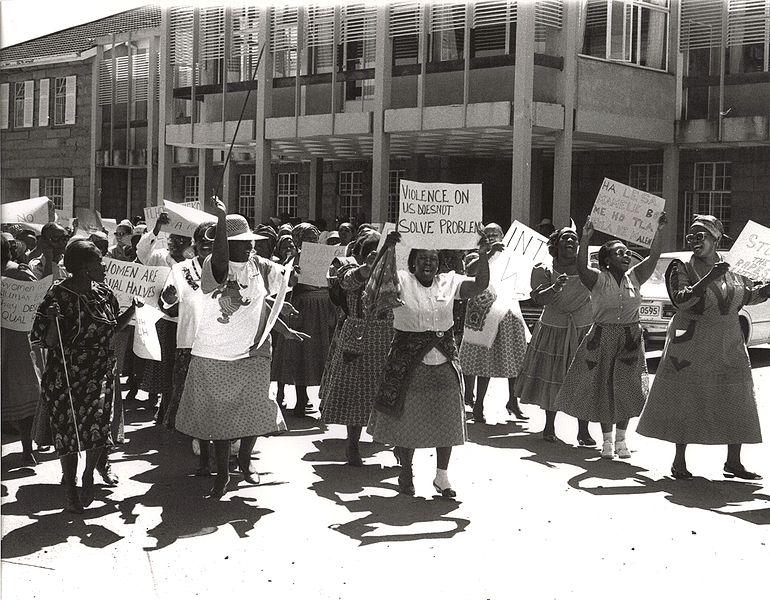 Women protesting in the streets of Pretoria