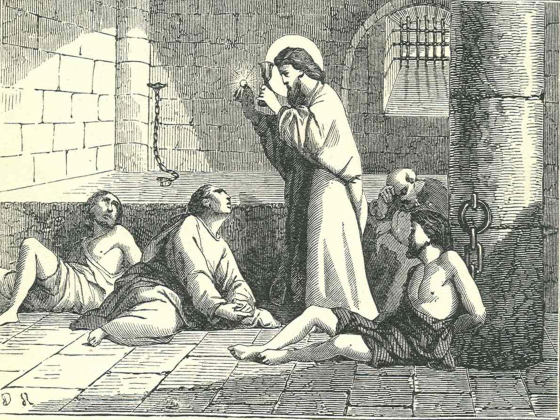 Saint Valentine helping Christians