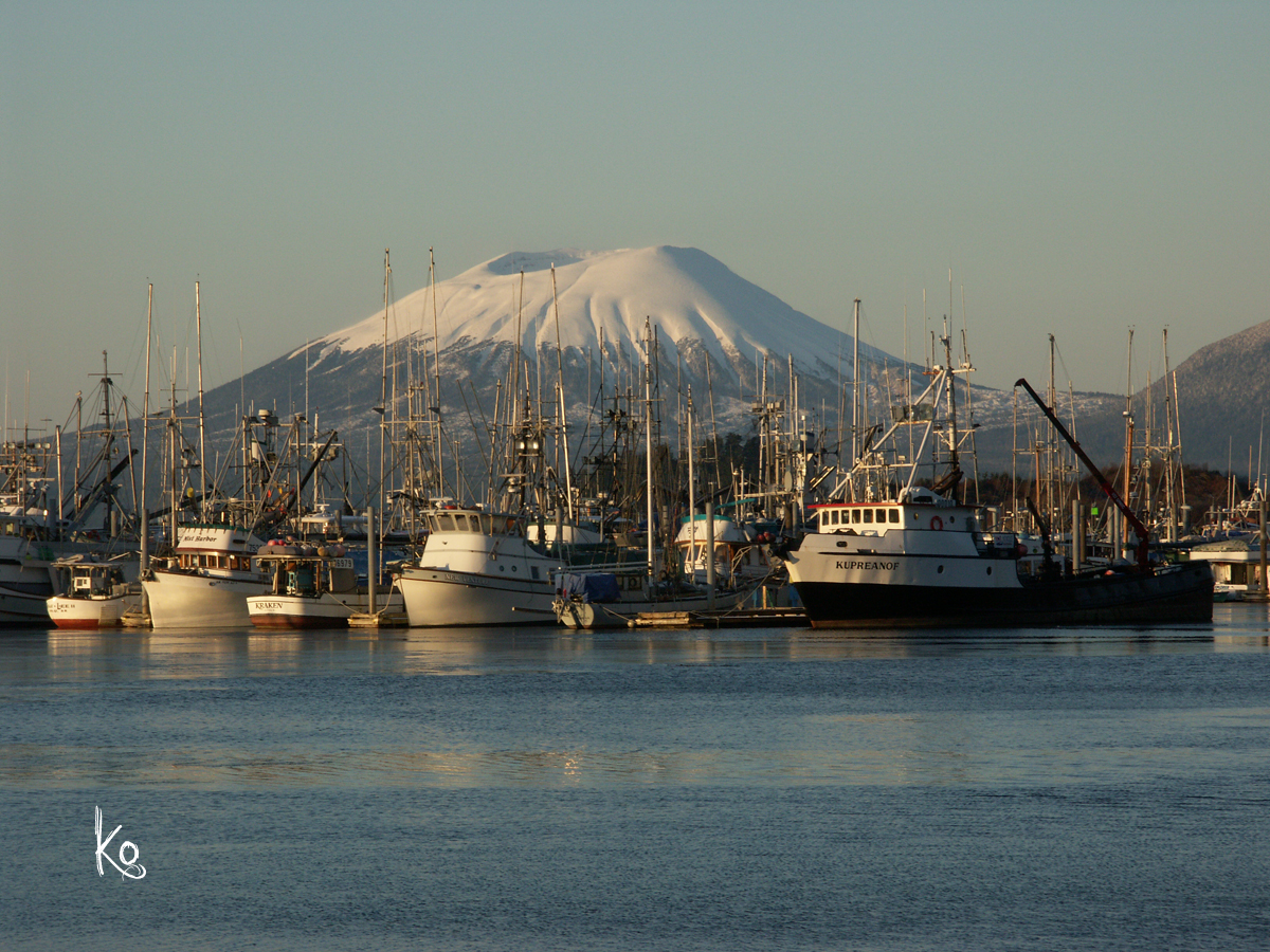 Shot of Mount Edgecumbe and Harbor