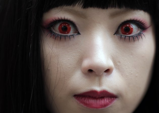 Japanese woman wearing make-up on Halloween