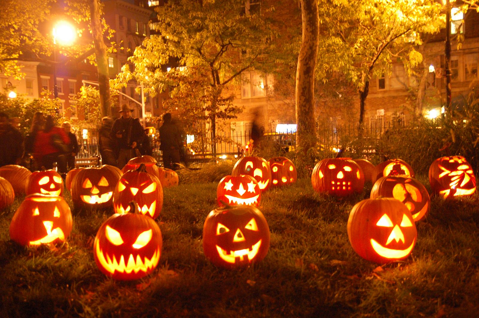 Jack-o'-lanterns adorning on Halloween