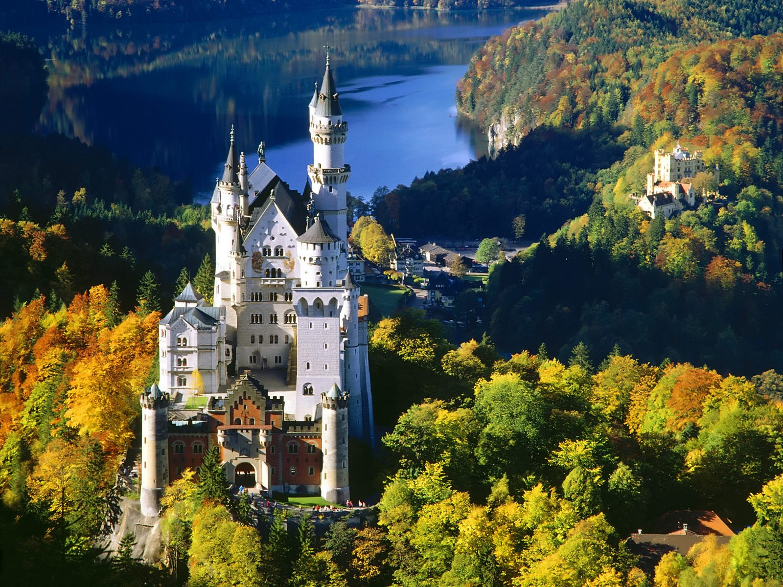 Aerial view of Neuschwanstein Castle