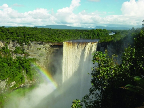 Rainbow and jungle at Kaieteur Falls